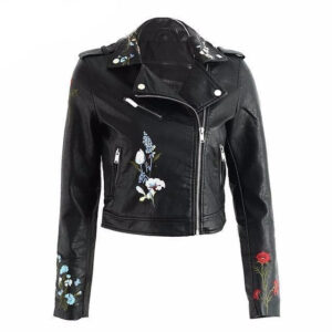 faux-embroidery-black-leather-biker-jacket