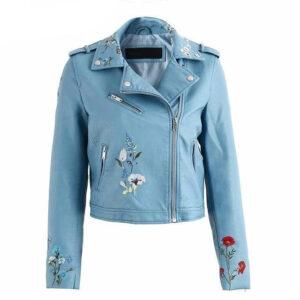 faux-embroidery-blue-leather-biker-jacket