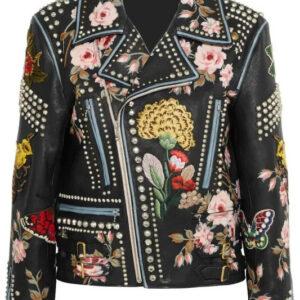 rose-handpainted-silver-studded-biker-jacket