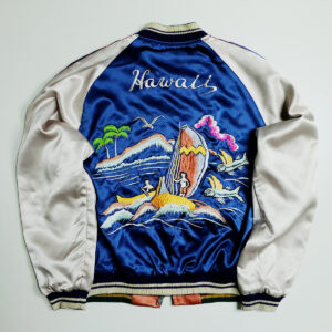 vintage-japanese-japan-tailor-toyo-roaring-roar-tiger-tora-a-la-katy-perry-hawaii-aloha-hawaiian-surf-surfing-beach-tattoo-art-embroidery-embroidered-bomber-sukajan-souvenir-jacket