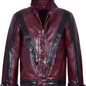 Michael Jackson Red Black Leather Fashion Jacket