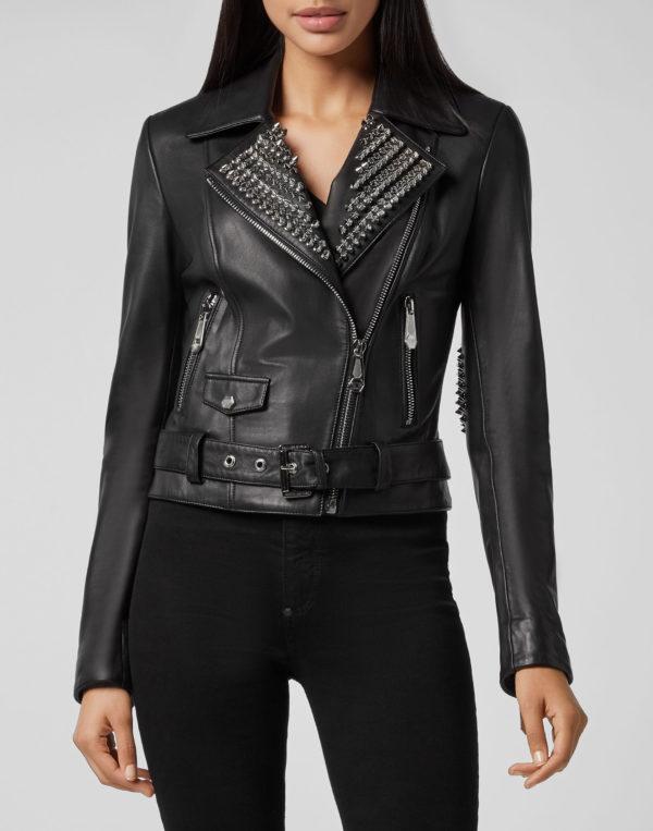Black Lambskin Leather Silver Studded Biker Jacket