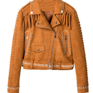 Camel Brown Fringed Leather Studded Biker Jacket