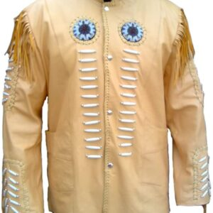 DJACKETSMAKER.COMVintage Indian Cowboy Leather Jacket Fringed and Bones