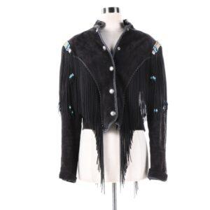 black-buckskin-suede-leather-fringes-biker-jacket