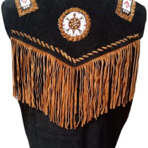 black-cowboy-suede-leather-fringes-bones-beads-stylish-vest