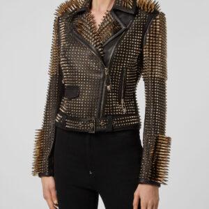 black-leather-golden-spike-studded-punk-style-biker-jacket