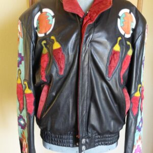 black-suede-bomber-jacket-with-southwestern-chili-peppers-wearable-art