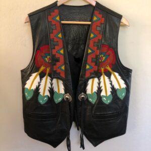 black-vintage-colorful-hand-painted-leather-vest