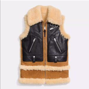 camel-black-shearling-fur-biker-vest