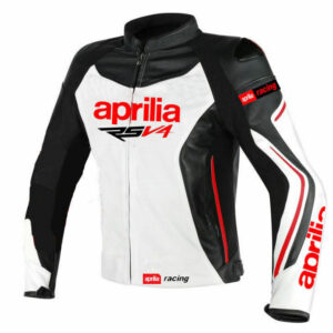 custom white aprilia motorbike racing leather jacket