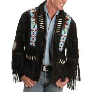 liberty-wear-eagle-bead-fringed-black-leather-jacket