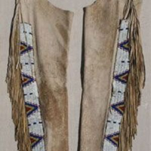 native-american-beige-buckskin-suede-leather-fringes-beaded-chaps