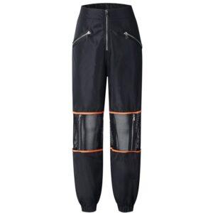 patchwork-loose-women-pant-high-waist-zipper-long-pant