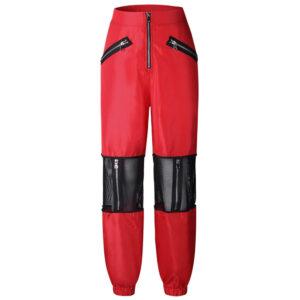 patchwork-loose-women-pant-high-waist-zipper-long-pants