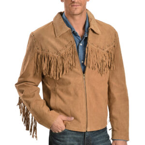 Brown Scully Fringed Suede Leather Jacket