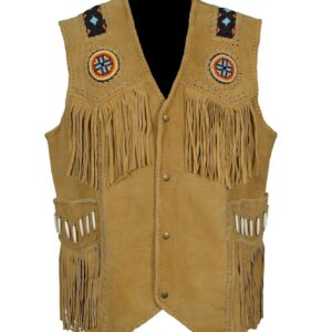 western-wear-cowhide-suede-leather-vest-with-fringes-beads-bones