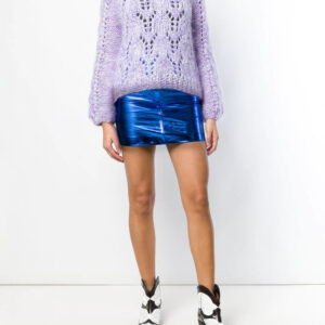 Blue Metallic Leather Mini Skirt