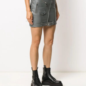 Side Lace-Up Detail Biker Skirt