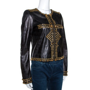 black-embossed-leather-studded-zip-front-jacket