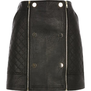 D:\JACKETSMAKER.COM\Black Leather Quilted Zip Mini Skirt