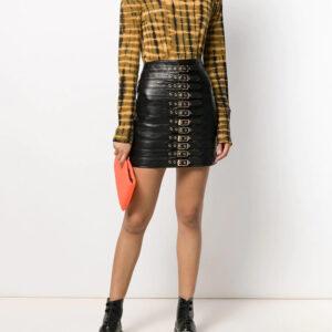 black-leather-buckled-mini-skirt
