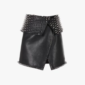 black-leather-wraparound-skirt-with-silvertone-studded