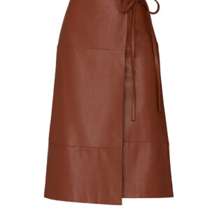 brown-leather-tie-skirt