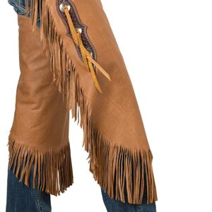 brown-vintage-cowboy-leather-chinks-with-basketweave-yoke