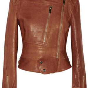 crocodile-effect-leather-biker-jacket