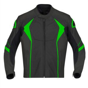 Custom Green And Black Motorcycle Leather Jacket