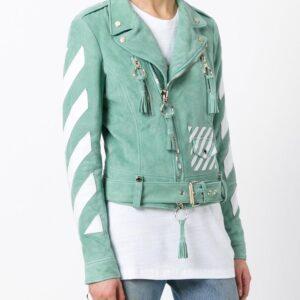 diagonal-printed-green-biker-leather-jacket