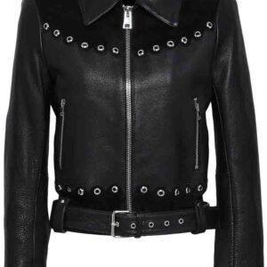 eyelet-embellished-suede-leather-black-biker-jacket