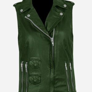 green-genuine-leather-biker-vest