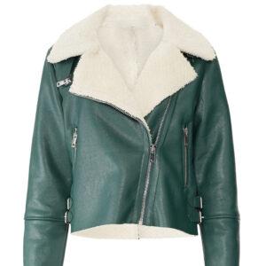 green-shearling-fur-leather-biker-jacket