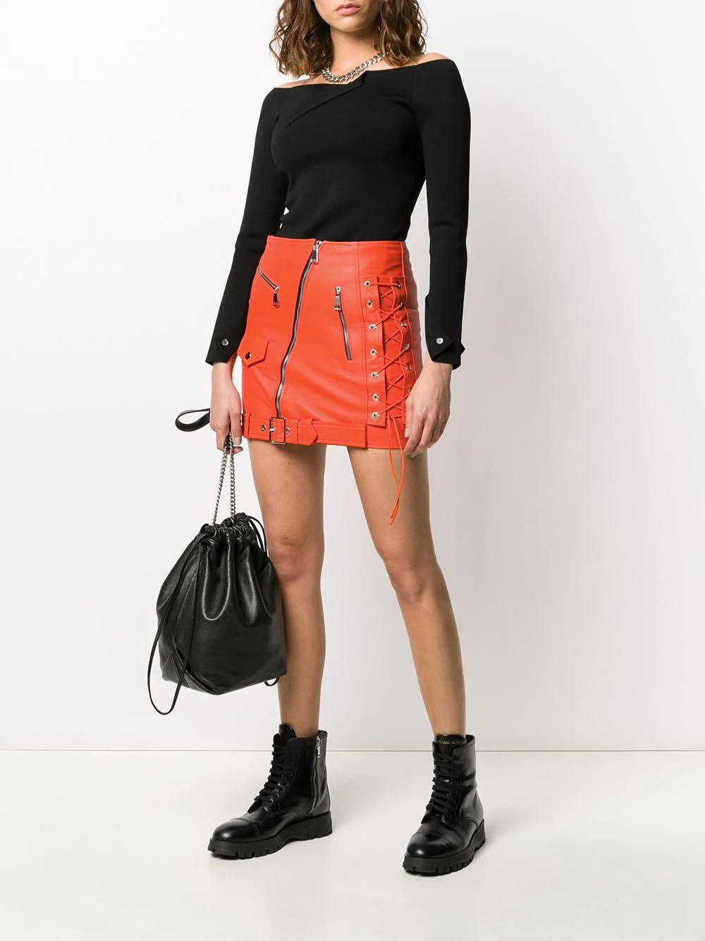 orange-leather-biker-mini-skirt
