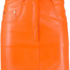 orange-leather-short-skirt