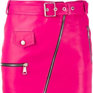 pink-lambskin-leather-biker-mini-skirt