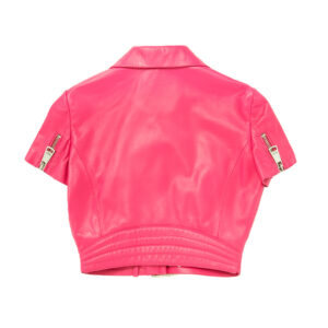 pink-leather-short-sleeves-cropped-jacket