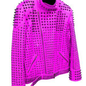 pink-vintage-studded-punk-leather-biker-jacket