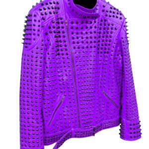purple-vintage-studded-punk-leather-biker-jacket