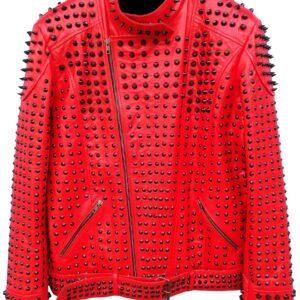 red-vintage-studded-punk-leather-biker-jacket