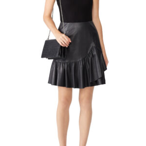 ruffled-vegan-leather-black-skirt