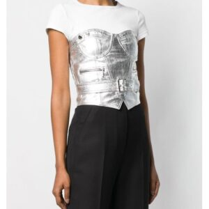 silver-tone-bustier-structured-metallic-top