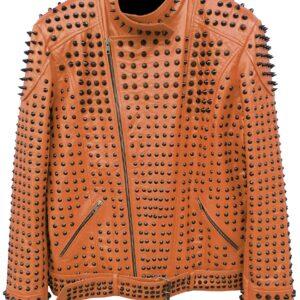 vintage-studded-punk-leather-brown-biker-jacket