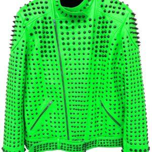 vintage-studded-punk-leather-green-biker-jacket