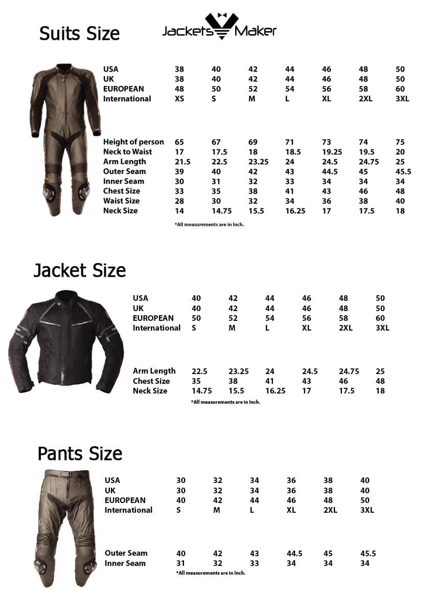 Motorcycle Jacket, Pant and Suit Size Charts