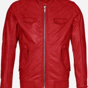 Regular Fit Red Bomber Leather Jacket