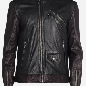 black-brown-leather-biker-jacket