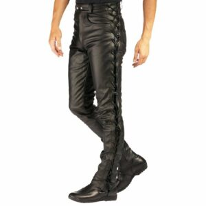 black-cowhide-leather-bikers-laces-up-pants